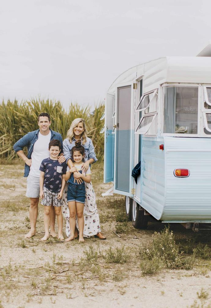 **Family** Michael and Carlene Duffy, who were contestants on *The Block: Glasshouse* in 2014, with children Paddy, 9, and Stella, 7, and their lovingly restored vintage caravan Dolly.