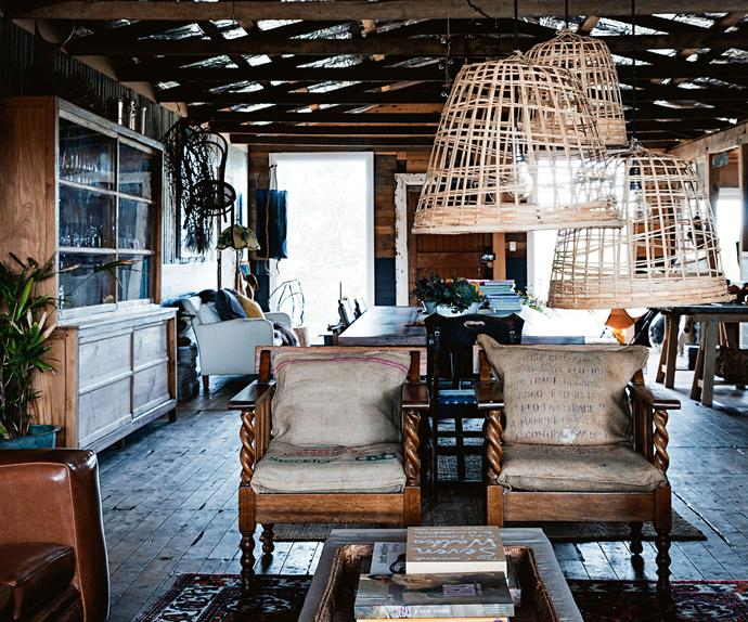 Living room in a converted shed decorated with vintage furniture