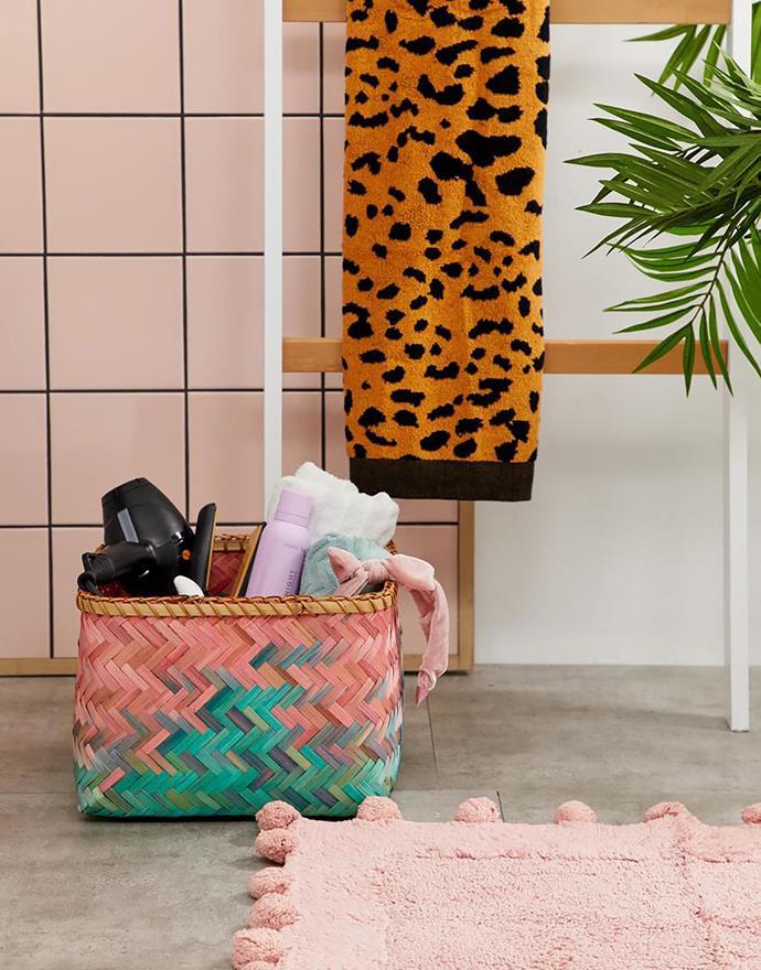 "Ombre bamboo basket, $32 and Woven animal print bath towel, $32, [ASOS](https://fave.co/2BifYPn|target=""_blank""|rel=""nofollow"")"