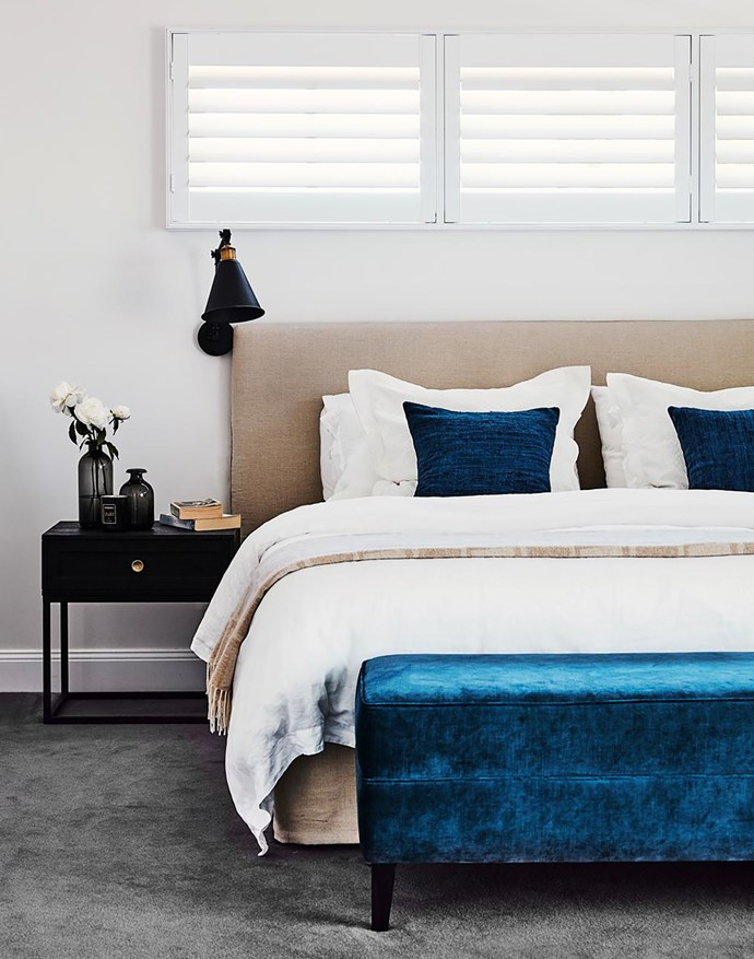 Bed and ottoman, Flow Interiors & Styling. 'Roxbury' wall light, Temple & Webster. Smart buy: 'Alton' bed cushions, from $60 each, Sheridan.