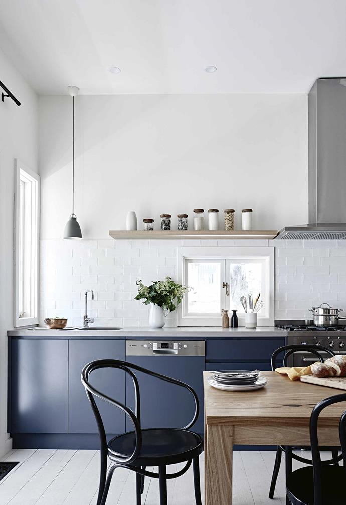 """**How did you use colour to fit with your style in this home?** I always start with a neutral foundation – paint, cabinetry, furniture and window furnishings – and then add colour sparingly. I also love all things British, and one of my favourite resource books for this project was Living With Colour by Farrow & Ball. The painted timber floors were directly inspired by this book.<br><br>**Dining area** The Mark Tuckey table with Thonet chairs is ideally situated to take in the garden view. Lamp (over dining table), [Douglas & Bec](https://www.douglasandbec.com/ target=""""_blank"""" rel=""""nofollow""""). Lamp (over sink), [Cult](https://cultdesign.com.au/ target=""""_blank"""" rel=""""nofollow""""). Jug, [Shelley Panton](https://shop.shelleypanton.com/ target=""""_blank"""" rel=""""nofollow""""). Salt & Pepper grinders and utensil canister, [Country Road](https://www.countryroad.com.au/ target=""""_blank"""" rel=""""nofollow""""). Pot, [The Essential Ingredient](https://www.essentialingredient.com.au/?v=6cc98ba2045f target=""""_blank"""" rel=""""nofollow""""). Glasses (on table and shelf), [HK Living](http://hkliving.com.au/ target=""""_blank"""" rel=""""nofollow""""). Marble canister, [Shelley Panton](https://shop.shelleypanton.com/ target=""""_blank"""" rel=""""nofollow""""). Pink dipped cups and pink plates (on table), [South Village Trading](https://www.southvillagetrading.com.au/ target=""""_blank"""" rel=""""nofollow""""). Dinner plates, [Shelley Panton](https://shop.shelleypanton.com/ target=""""_blank"""" rel=""""nofollow""""). Napkins, [Hale Mercantile Co](https://halemercantilecolinen.com/ target=""""_blank"""" rel=""""nofollow"""")."""