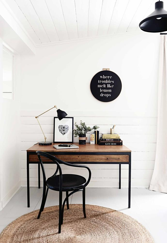 "**What were some of the style lessons you learned along the way?** Go with your instincts. If you love something, go for it. Most people thought it was really strange that we were going to [paint the floor rather than stain it](https://www.homestolove.com.au/how-to-choose-floor-colour-6234|target=""_blank""), but I knew the look I wanted and I'm so glad I stuck by my idea. The same goes for the [exterior](https://www.homestolove.com.au/12-exterior-colour-palettes-to-inspire-your-home-renovation-17194