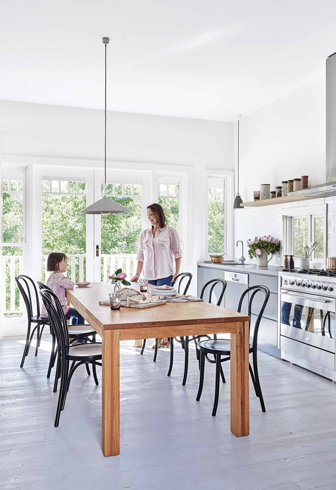 """But, as Suzanne recalls, """"It was very shabby chic when we found it. There were lots of exposed timbers and distressed finishes. It wasn't to my style but it had huge potential – I knew instinctively that it would be a special place for our family.""""<br><br>**Kitchen**  We love the darker tone ([Dulux](https://www.dulux.com.au/