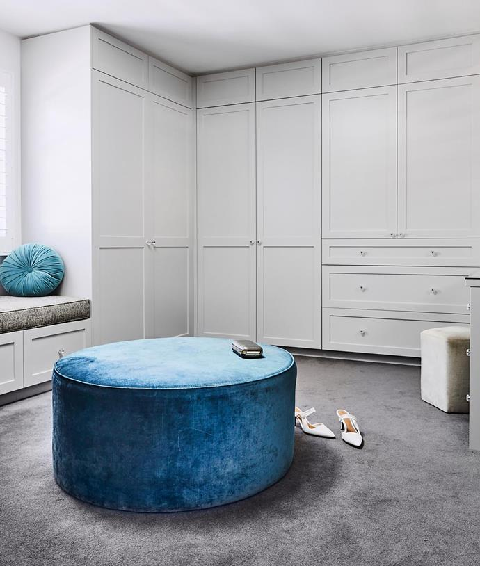 """My dressing room is like a boudoir,"" says Julia. Cabinetry by Creative Projx. Ottomans, Flow Interiors & Styling."
