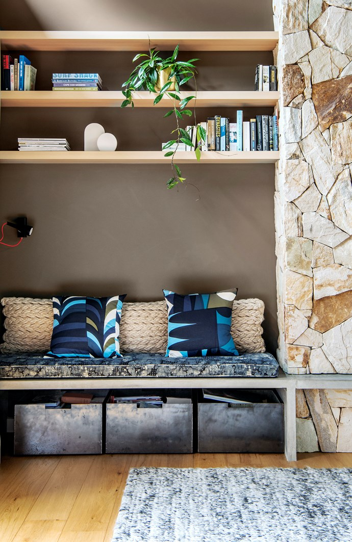 Shelves above a built-in seat make an attractive feature. Add baskets for bits and pieces, either under the seat or doubling as bookends on shelves. Photograph:  Jacqui Way