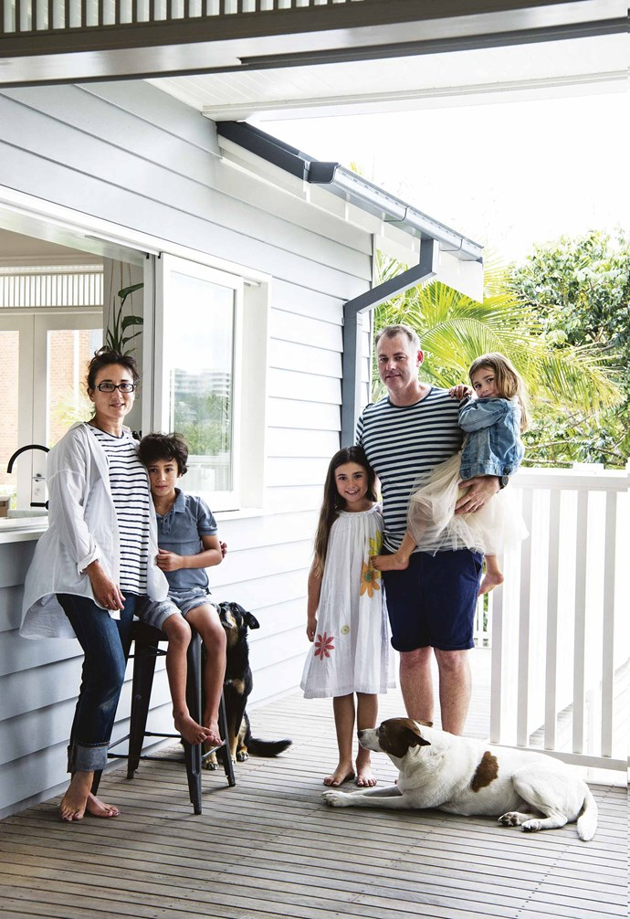 "The house had to accommodate their clan – three children, two dogs, one cat and nine chickens – and the five tiny bedrooms had now spawned five spacious ones; the dark [living room](https://www.homestolove.com.au/20-best-open-plan-living-designs-17877|target=""_blank"") became light and airy, and the kitchen (both Tash and Tony are passionate cooks) had been transformed into the heart and soul of the home.<br><br>**Portrait** Tash and Tony relax on the deck with their children Maddox, Harriet, and Ginger. Beloved pups Maggie and Jack keep the family company."