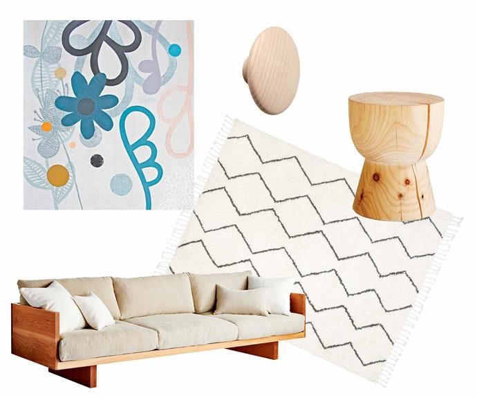 "**Get the look** (clockwise from left) *Little Flora 1* painting, $950 (unframed), [Rachel Castle](https://www.castleandthings.com.au/|target=""_blank""