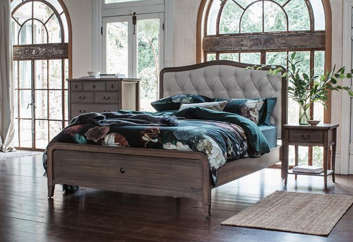 """The 2019 take on the classic bedroom style features unexpected bursts of colour that maintain balance and symmetry. Elegant, timeless and meticulously crafted, [Snooze's Elise bed frame](https://www.snooze.com.au/products/elise-bed-frame?variant=7279350808609 target=""""_blank"""" rel=""""nofollow"""") will make a stunning centrepiece in any bedroom. *Photo: Image: supplied by Snooze*"""