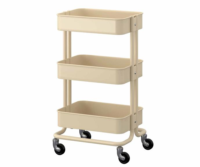 "Your child can play the perfect host and easily move this trolley around to collect plates, toys and cushions – or it can be used to store little guests' bags and belongings as they arrive. 'Råskog' trolley, $69, [IKEA](https://www.ikea.com/|target=""_blank""