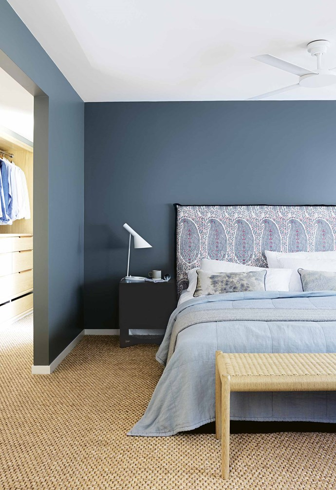 """About a year after Sanil bought the house, he met his partner Karyn. While she wasn't involved in the home's design process, she loves the results. """"It's the most beautiful serene space and it's amazing to come home from work,"""" she says. """"You forget all of your worries.""""<br><br>**Master bedroom** Walls in Dulux Hildegard showcase the bedhead in Penny Morrison 'Jamawar' fabric from Tigger Hall Design. The sisal carpet is from The Natural Floorcovering Centre. Martyn Thompson studio cushions, [Spence & Lyda](https://www.spenceandlyda.com.au/