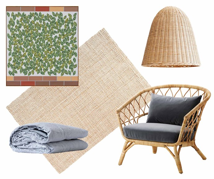 """**Location, location** This home's coastal surroundings have influenced the relaxed yet elegant decorative pieces throughout the space. **Get the look** (clockwise from left) Geranium Pots (Adjacent Garden Square) artwork by [Mitch Cairns](https://mitchcairns.info/