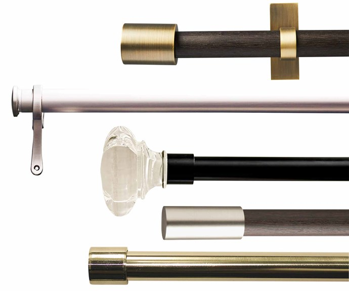 "**Note**: All sets include mounting hardware, and all rods are extendable (dimensions in brackets). (from top down)  'Mid-Century' curtain rod (112cm-274cm) in Carbon/Brass, $159, [West Elm](http://westelm.com.au/|target=""_blank""