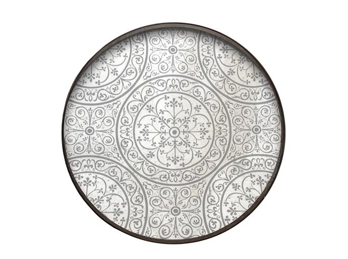 'Notre Monde' meranti-plywood tray in Moroccan Mirrored Frost, $365, Papaya.