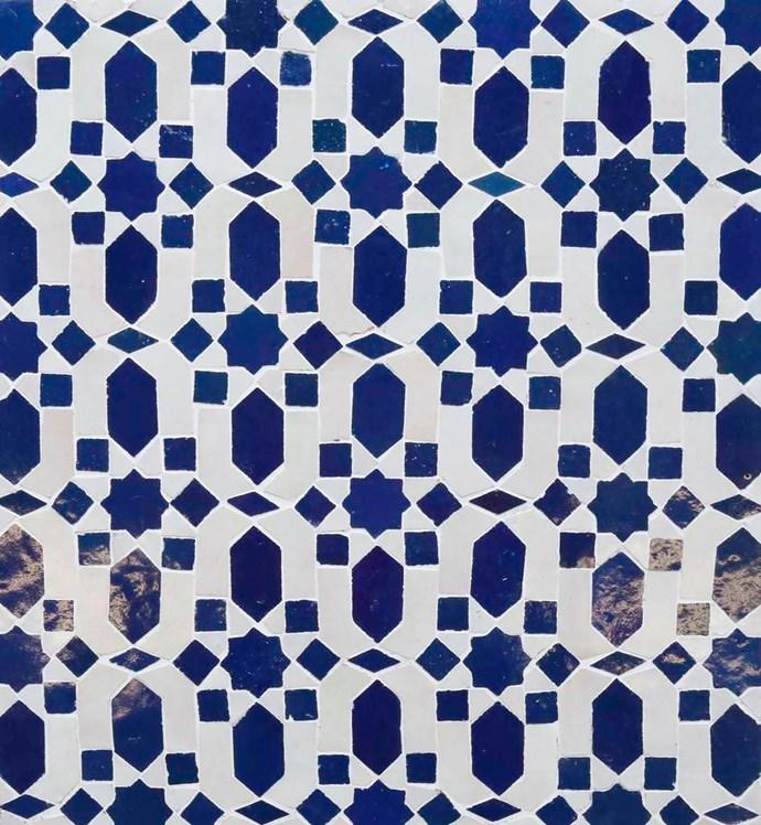 'Moroccan Zellij Medina Mosaic' ceramic wall tile (29x26x25cm), $1258/m2, Earp Bros.