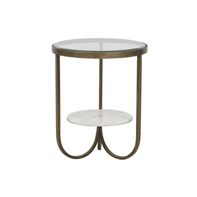 'Amelie Curve' marble and iron side table, $610, GlobeWest.