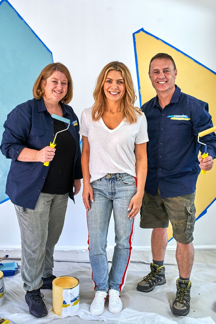 Host Natalie Bassingthwaighte with one of the *Changing Rooms* couples, Virginia and Glen. Throughout the series Natalie will be joined by four Australian designers: Naomi Findlay, Tim Leveson, Jane Thomson and Chris Carroll.