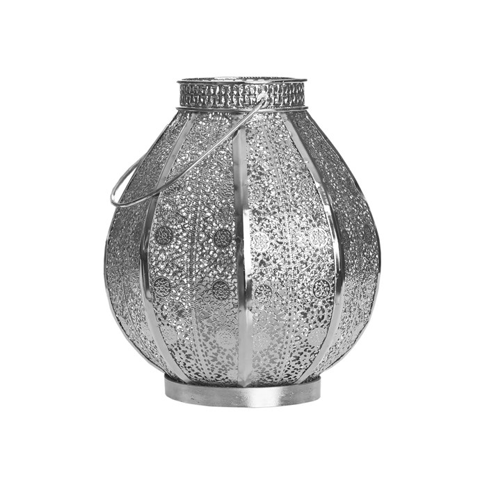 Filigree' drop-shaped metal lantern, $35, Bed Bath N' Table.