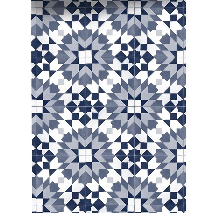 Grace Garrett 'Meknes' non-woven wallpaper in Denim, from $45/60cm panel in custom length, Sparkk.
