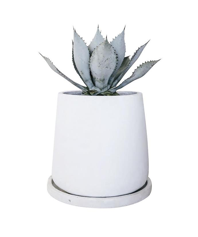 'Hajar' resin and stone planter with saucer in White, $770, Leilah.