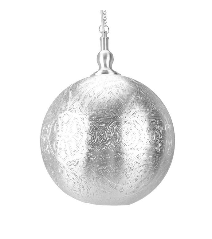 Emac & Lawton 'Moroccan' metal pendant light, $359, Living Styles.