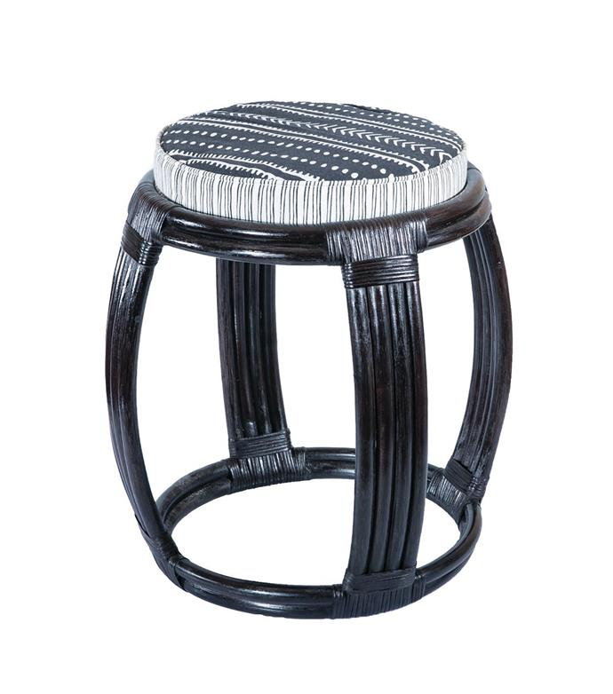 Rattan drum stool with cotton cushion, $239, Bowerhouse.