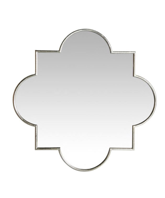 'Cindy Marrakech' mirror in metal frame, $355, Temple & Webster.