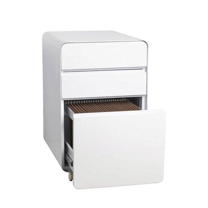 "'Venturo' 3 drawer pedestal filing cabinet in white, $149, [Officeworks](https://www.officeworks.com.au/shop/officeworks/p/venturo-3-drawer-pedestal-white-otven3dwe target=""_blank"" rel=""nofollow"")"