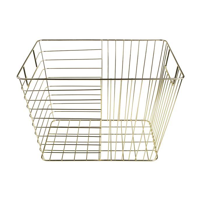 "Rectangular Gold Look wire basket, $9, [Kmart](https://www.kmart.com.au/product/rectangular-wire-basket---gold-look/2422818|target=""_blank""|rel=""nofollow"")"