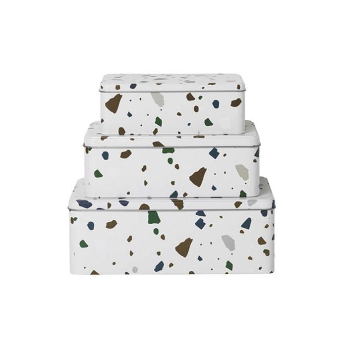 "ferm LIVING Tin Boxes in Terrazzo Grey (set of 3), $79, [Design Stuff](https://www.designstuff.com.au/ferm-living-tin-boxes-terrazo-grey-set-of-3/ target=""_blank"" rel=""nofollow"")"