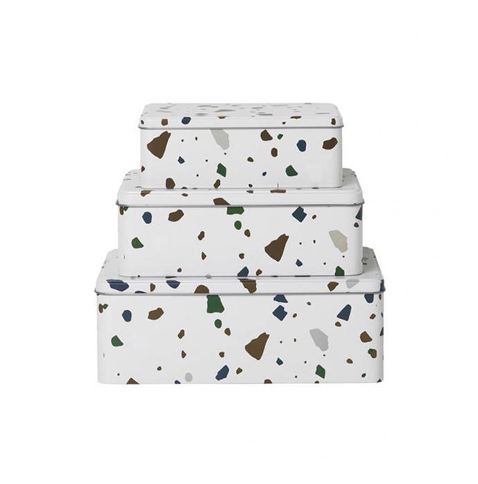 "ferm LIVING Tin Boxes in Terrazzo Grey (set of 3), $79, [Design Stuff](https://www.designstuff.com.au/ferm-living-tin-boxes-terrazo-grey-set-of-3/|target=""_blank""|rel=""nofollow"")"