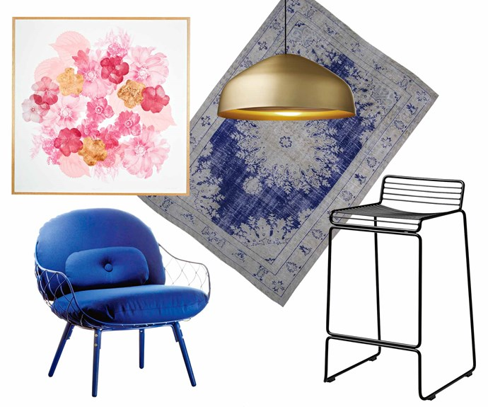 "**Easy elegance** Get the luxe look at home by layering rich textures, bold colour and metallic accents. A restrained palette ensures each piece has room to breathe.<br><br>**Get the look** (clockwise from left) Floral print in Pink, $1350 (framed), [Bonnie And Neil](http://www.bonnieandneil.com.au/|target=""_blank""