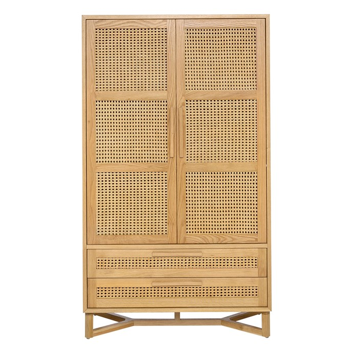 "Raffles 2-door wardrobe in Natural and Rattan, $1199, [Freedom](https://www.freedom.com.au/|target=""_blank""