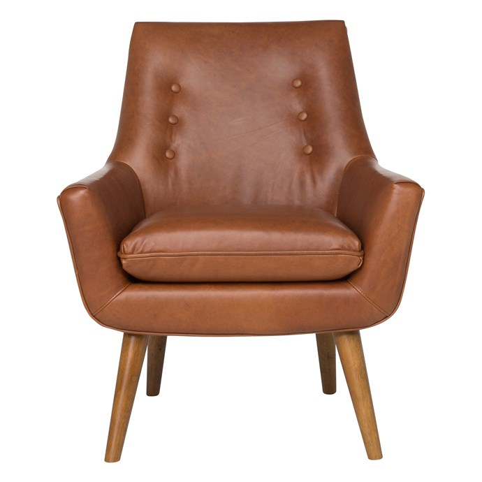 Retro leather armchair in Nutmeg Panama, $1099, [Freedom]