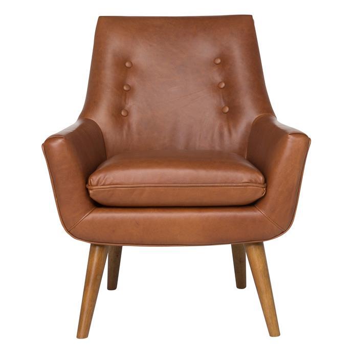 Retro leather armchair in Nutmeg Panama, $1099, [Freedom]