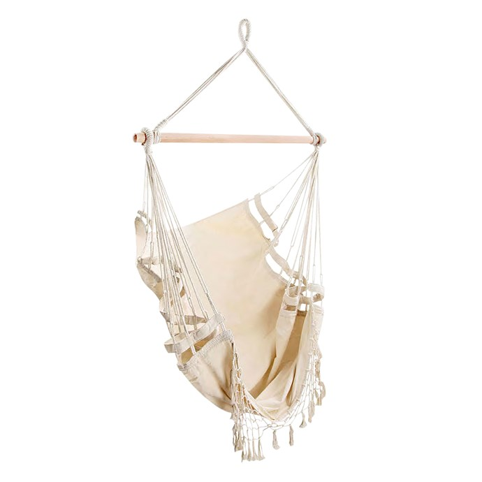 "Dwell Outdoor creamy white hanging hammock chair, $89, [Temple & Webster](https://www.templeandwebster.com.au/|target=""_blank""