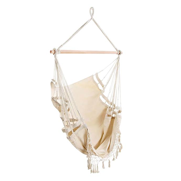 """Dwell Outdoor creamy white hanging hammock chair, $89, [Temple & Webster](https://www.templeandwebster.com.au/