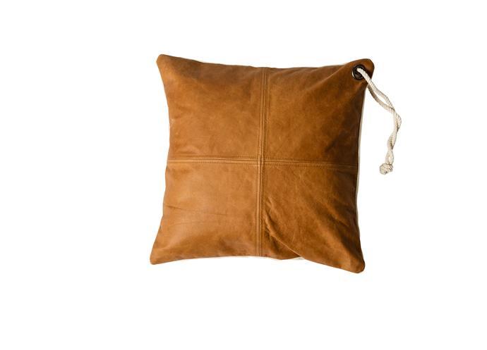 "Easy leather square cushion, $119, MJG by [Mr Jason Grant](http://www.mrjasongrant.com/store/|target=""_blank""|rel=""nofollow"")"