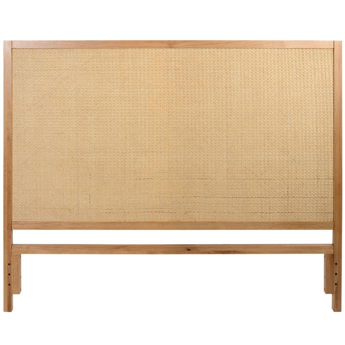 """Daintree oak and rattan bedhead, $499 for queen, [Temple & Webster](https://www.templeandwebster.com.au/