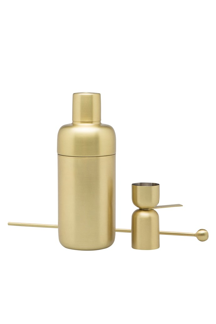 """Mala cocktail set in Brass, $79.95, [Country Road](https://www.countryroad.com.au/