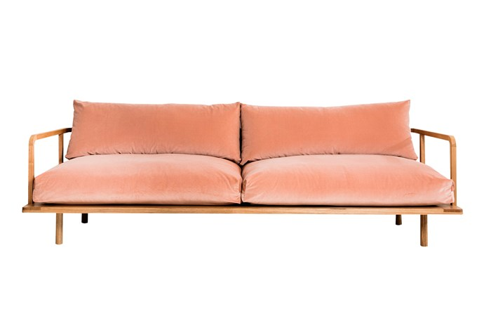"Plush Dreamer couch in Pink Velvet, $4840 for lovers size, [Pop & Scott](https://www.popandscott.com/|target=""_blank""