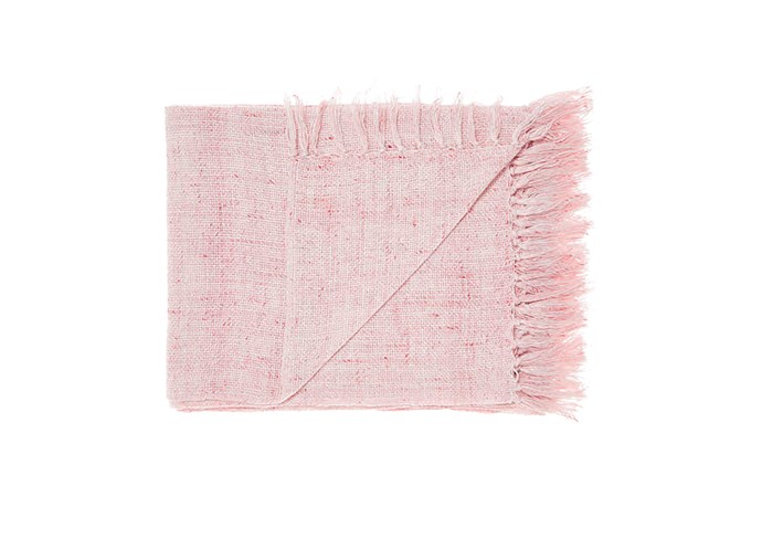"Winterfell throw in Pink, $99.95, [Linen House](https://www.linenhouse.com/|target=""_blank""