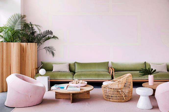 """**Pastel paradise** <br><br> There's a sizzling '60s and '70s vibe at Bannisters Port Stephens. The renovated boutique beachfront hotel takes inspiration from its retro heritage, fusing curvy cane furniture and a soothing palette of pink and mint with brass accents and tropical [indoor plants](https://www.homestolove.com.au/the-best-indoor-plants-for-australian-homes-2003