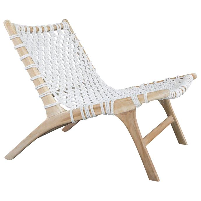 """19 Kauai Collection white heather teak and rope chair, $449, [Temple & Webster](https://www.templeandwebster.com.au/