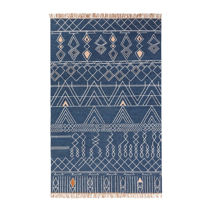 "Summit indoor/outdoor rug in Midnight (1.52m x 2.44m), $499, [West Elm](http://www.westelm.com.au/|target=""_blank""
