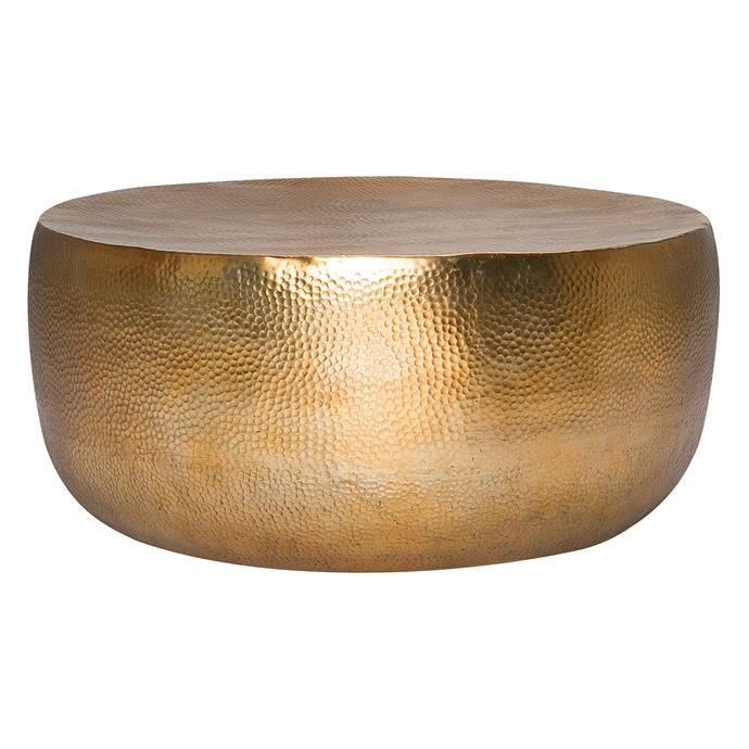 """Hammered drum coffee table (95cm), $499, [Freedom](https://www.freedom.com.au/