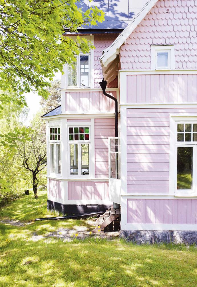 "**Exterior** Lisa's tower house evokes Villa Villekulla, the fictional home of children's book character Pippi Longstocking. ""It was pink when we bought it,"" she says. ""The story is that this is the original colour, but we don't know for sure!"""