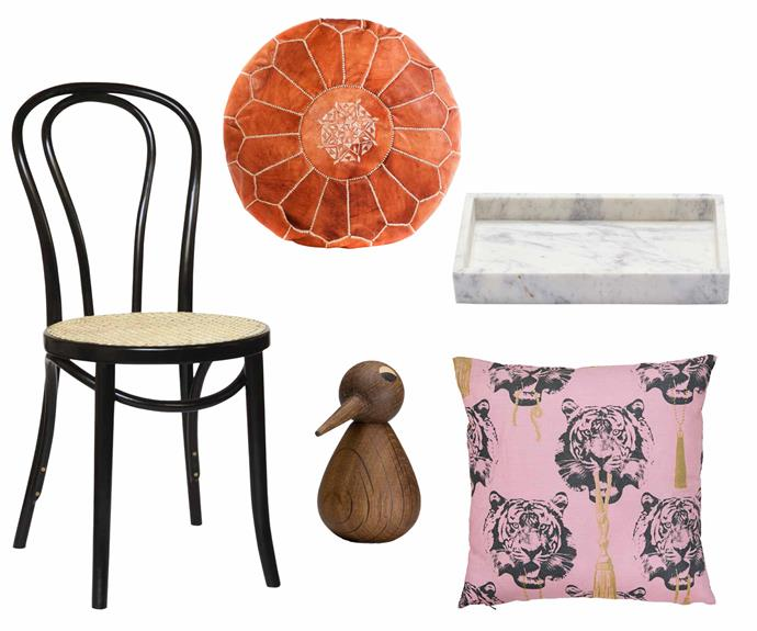 "**Pattern play** Accessorise classic pieces with elaborate designs and textures for a truly individual look. **Get the look** (clockwise from left) 'No.18' dining chair with cane seat $341, [Thonet](http://www.thonet.com.au/|target=""_blank""