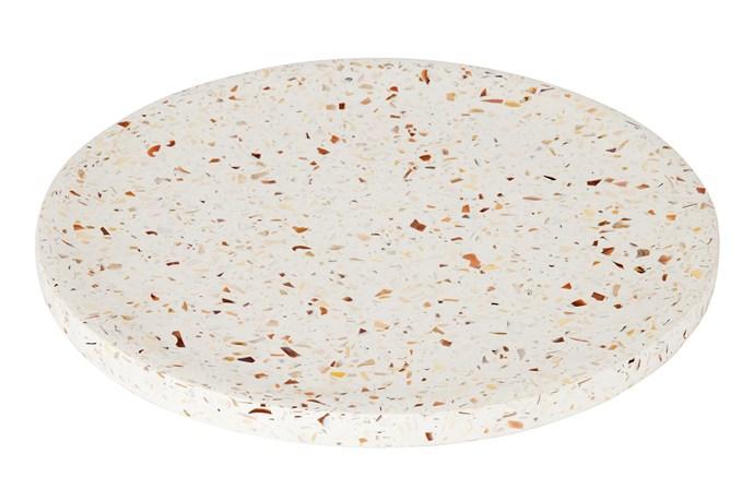 "Terrazzo dimple tray in Seashell, $137 for large, [Zakkia](https://www.zakkia.com.au/|target=""_blank""|rel=""nofollow"")"