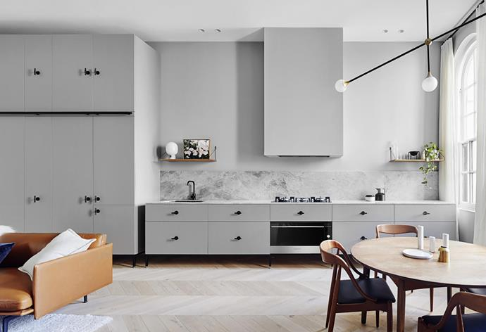 Kitchen joinery by Guy Phelan with benchtop and splashback in honed Brecciolino marble from Corsi & Nicolai, Buster + Punch T-bar pulls from Living Edge and appliances from Fisher & Paykel.