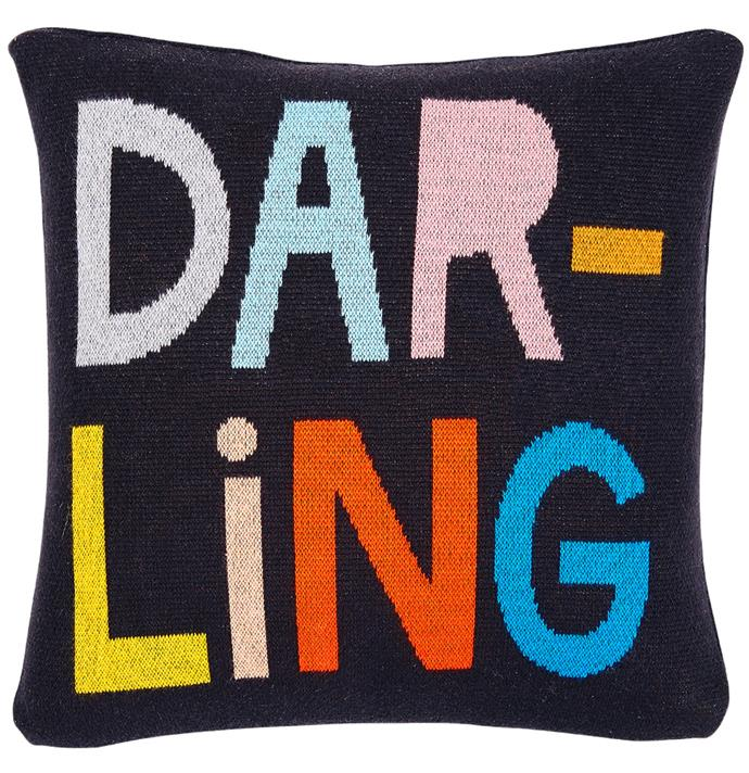 """'Darling' mini cushion cover, from $49, [Castle](https://www.castleandthings.com.au/product/darling-cotton-knit-cushion-cover/
